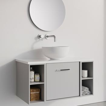 vanity unit with a basin in a bathroom