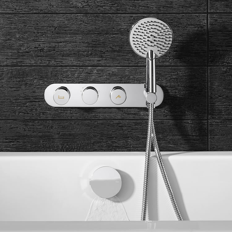 Crosswater Dial Shower Valve 2 Control with Central Trim & Ethos Handset