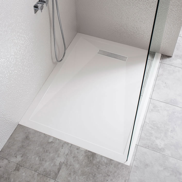 Crosswater Simpsons 1200 x 900mm Rectangle 25mm Stone Resin Shower Tray With Linear Waste