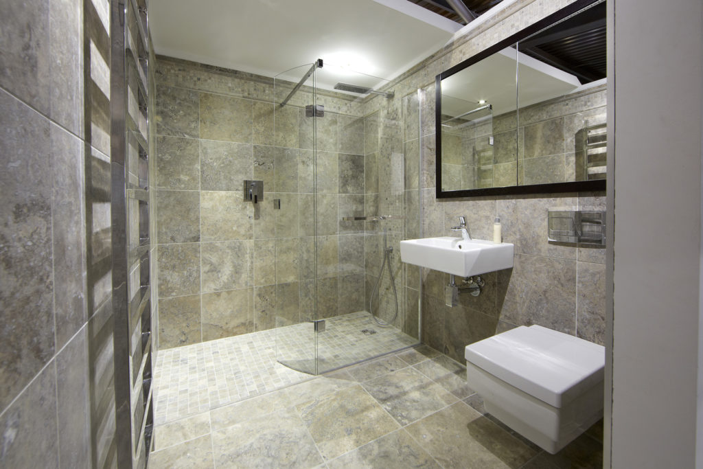 How to make a wet room - natural stone tile wet room