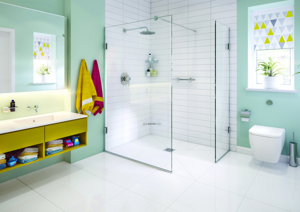 wet room designs - example of a wet room with white tiles