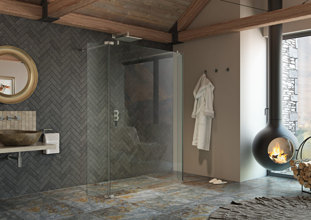 Wet room designs - Ultimate2 walk through glass panel with grey decor