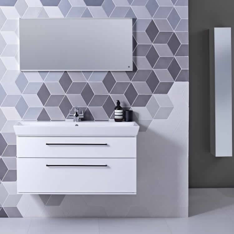 Roper Rhodes Scheme 1000mm Gloss White Wall Mounted Vanity Unit and Basin