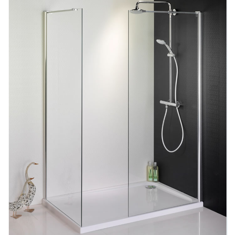 1500 x 900 Walk In Shower Enclosure, End Panel & Tray