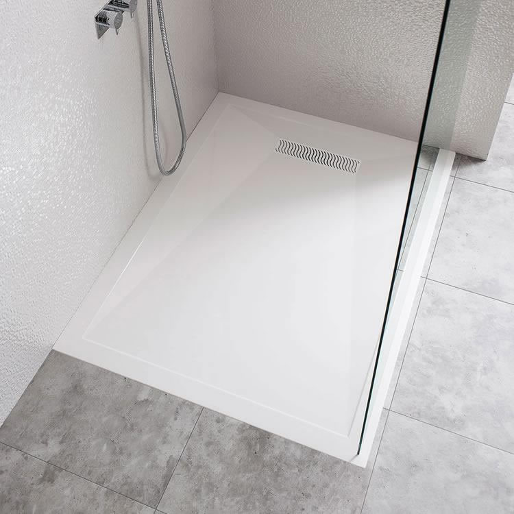 Crosswater Simpsons 1400 x 800mm Rectangle 25mm Stone Resin Shower Tray with Linear Waste