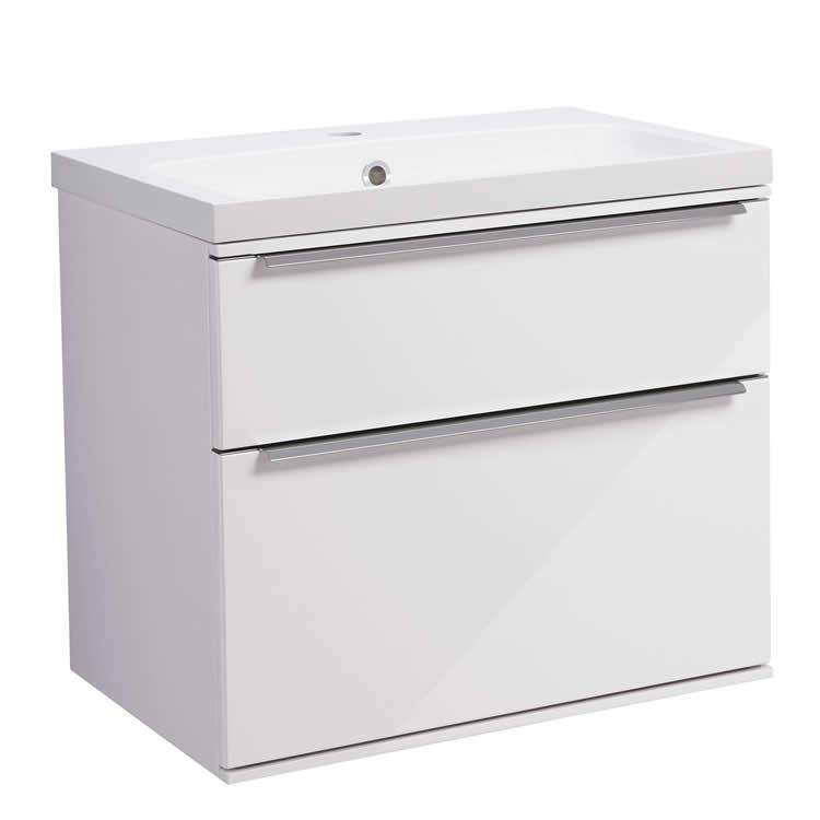 Roper Rhodes Scheme 600mm Gloss White Wall Mounted Vanity Unit and Basin