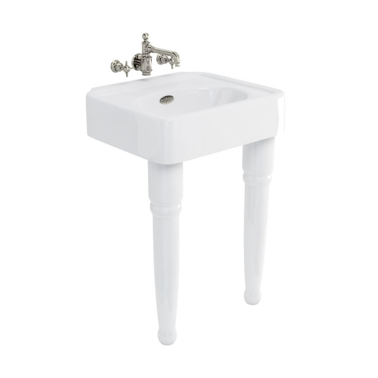 Arcade 600mm Console Basin with Ceramic Legs - 0 Tap Holes