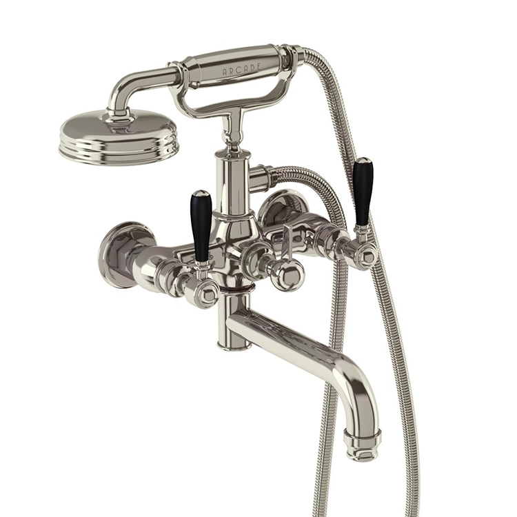Photo of Arcade Nickel Wall Mounted Bath Shower Mixer with Black Lever Handles Cutout