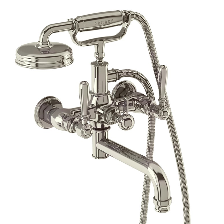 Photo of Arcade Nickel Wall Mounted Bath Shower Mixer with Lever Handles Cutout