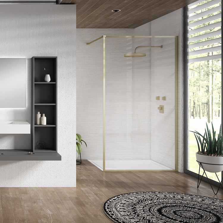 Lifestyle Photo of Aquaglass Velar+ Brushed Brass Clear Frame Walk In Shower Enclosure Cutout