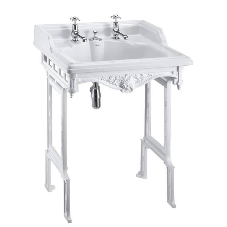 Burlington Classic Basin With Invisible Overflow & Waste With White Aluminium Wash Stand Image