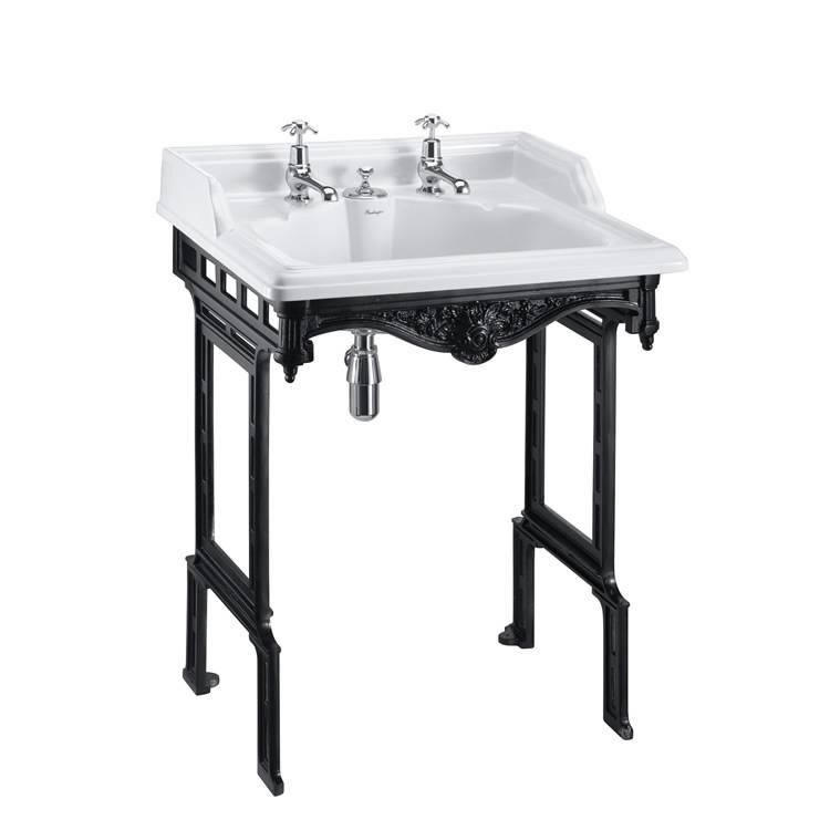 Burlington Classic Basin With Invisible Overflow & Waste With Black Aluminium Wash Stand Image