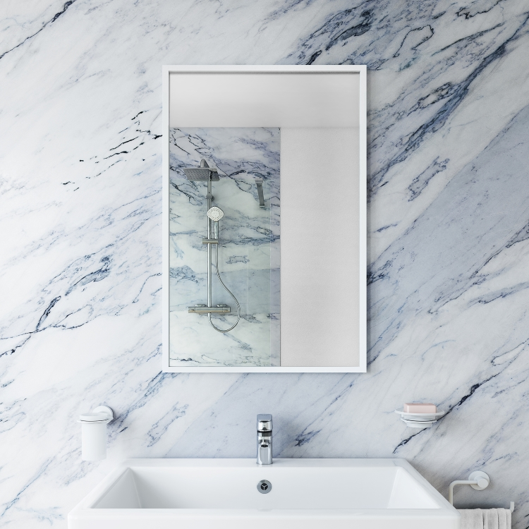 Image of Bathroom Origins Docklands Rectangular Mirror in white on marble wall