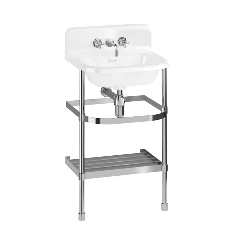 Burlington 550mm Small Roll Top Basin With Upstand & Washstand