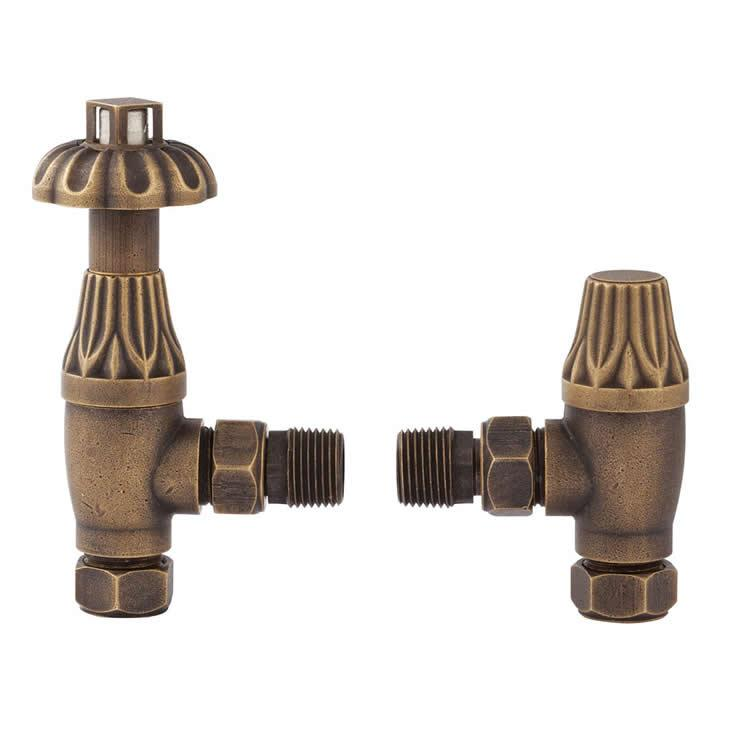Photo of Bayswater Angled Thermostatic Antique Brass Radiator Valves With Lock Shield