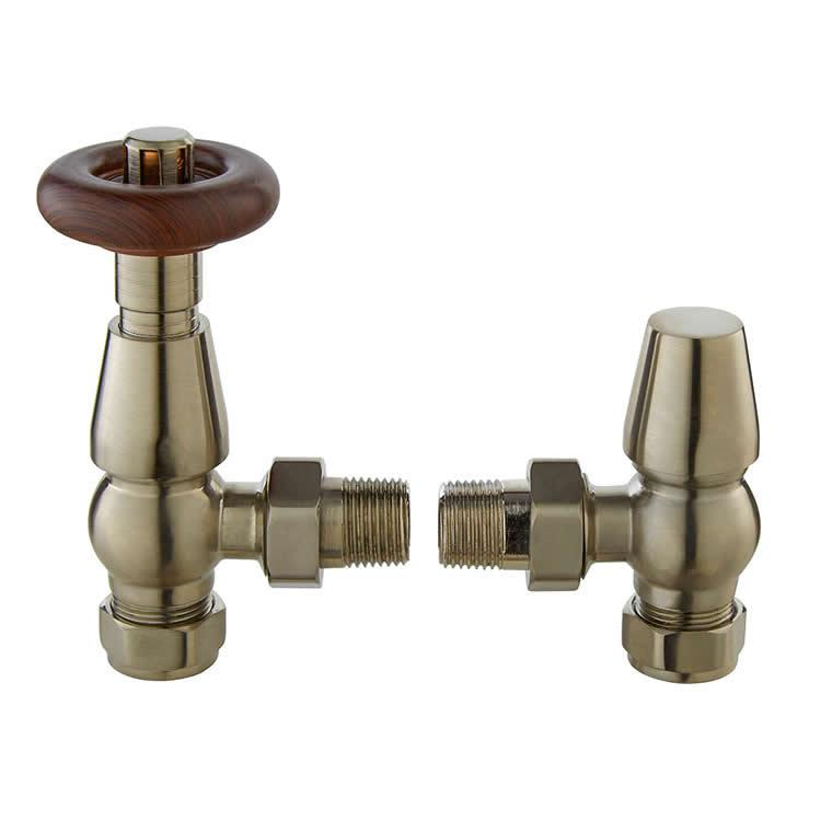 Photo of Bayswater Angled Thermostatic Rounded Satin Nickel Radiator Valves With Lock Shield