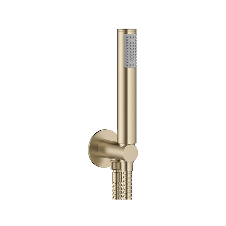 Crosswater MPRO Brushed Brass Wall Outlet, Handset and Hose - Image 1