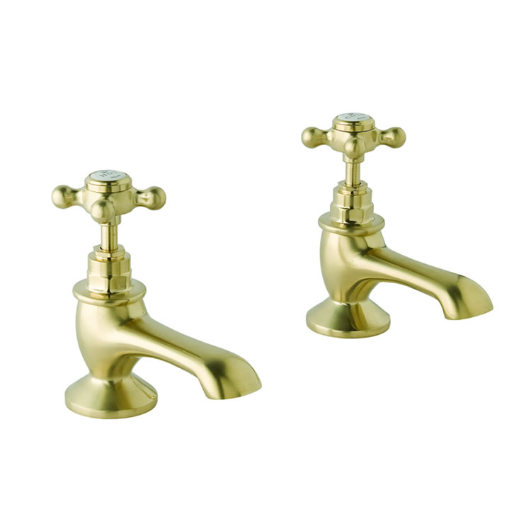 Photo of BC Designs Victrion Brushed Gold Crosshead Bath Pillar Taps