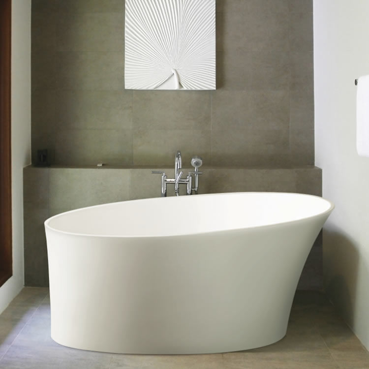 BC Designs Delicata 1520mm Slipper Freestanding Bath with chrome freestanding tap with a grey tiled wall and mirror behind