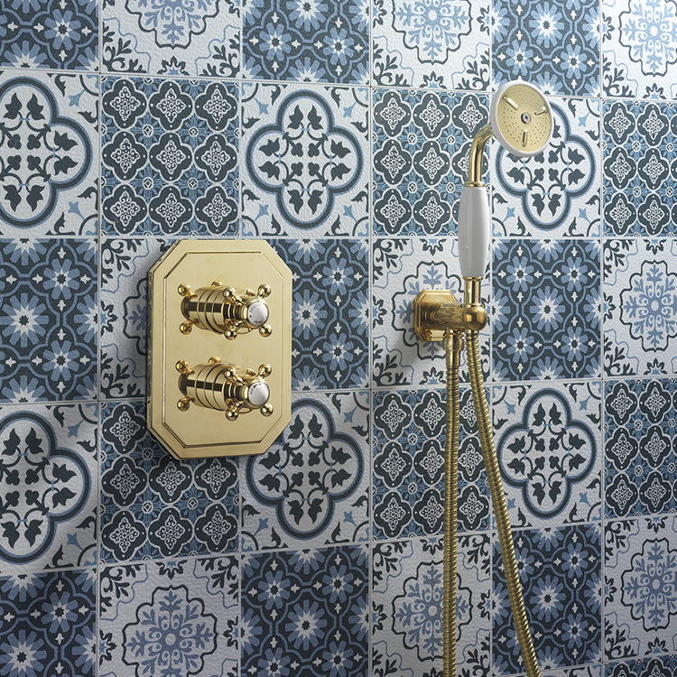 Photo of Crosswater Belgravia Unlacquered Brass Shower Handset, Wall Outlet & Hose Lifestyle Image