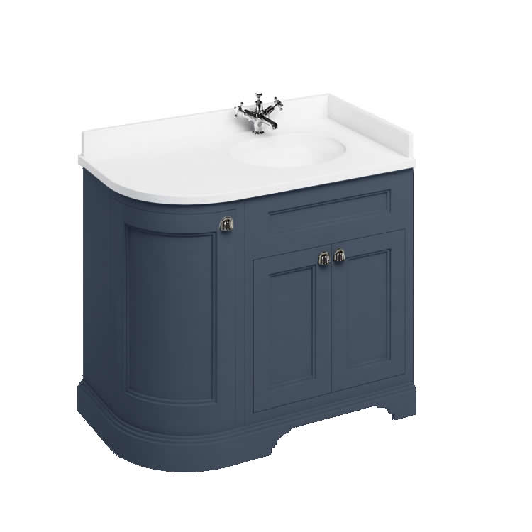 Burlington Blue 1000mm Curved Vanity Unit With Worktop - Right Hand