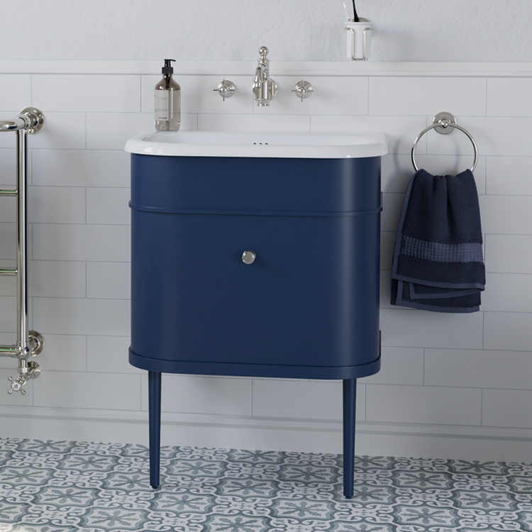 Lifestyle Photo of Burlington Chalfont 650mm Blue Wall Hung Unit & Basin with Matching Legs