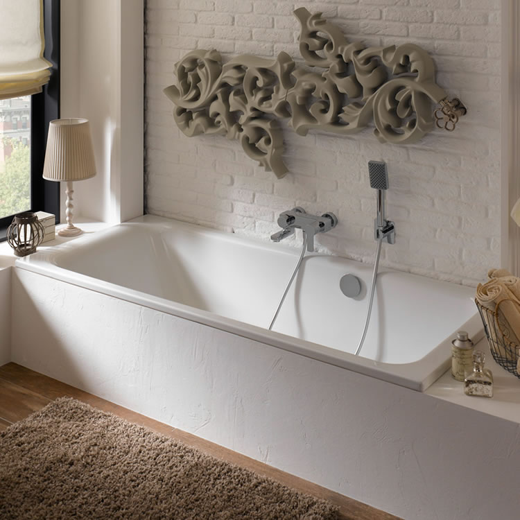 Photo of Bette Select 1700 x 750mm Double Ended Bath with Side Overflow Lifestyle Image