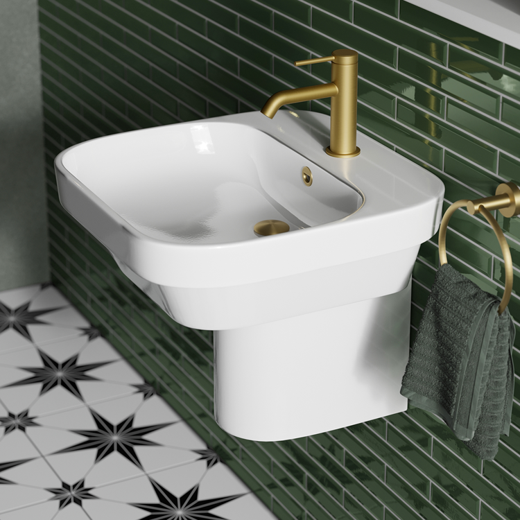 Photo of Britton Bathrooms Curve2 450mm Basin with Semi Pedestal Lifestyle Image