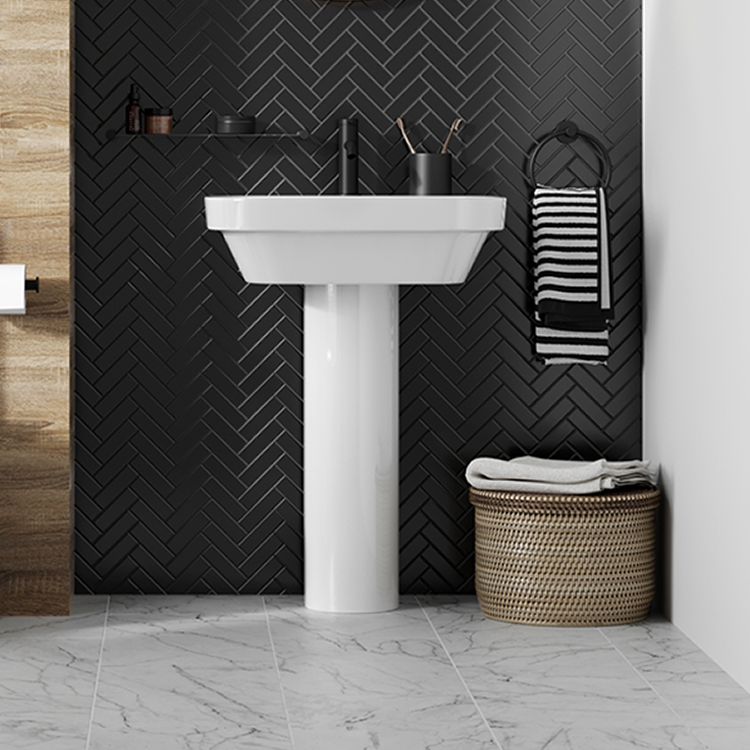 Poto of Britton Bathrooms Curve2 450mm Basin with Full Pedestal Lifestyle
