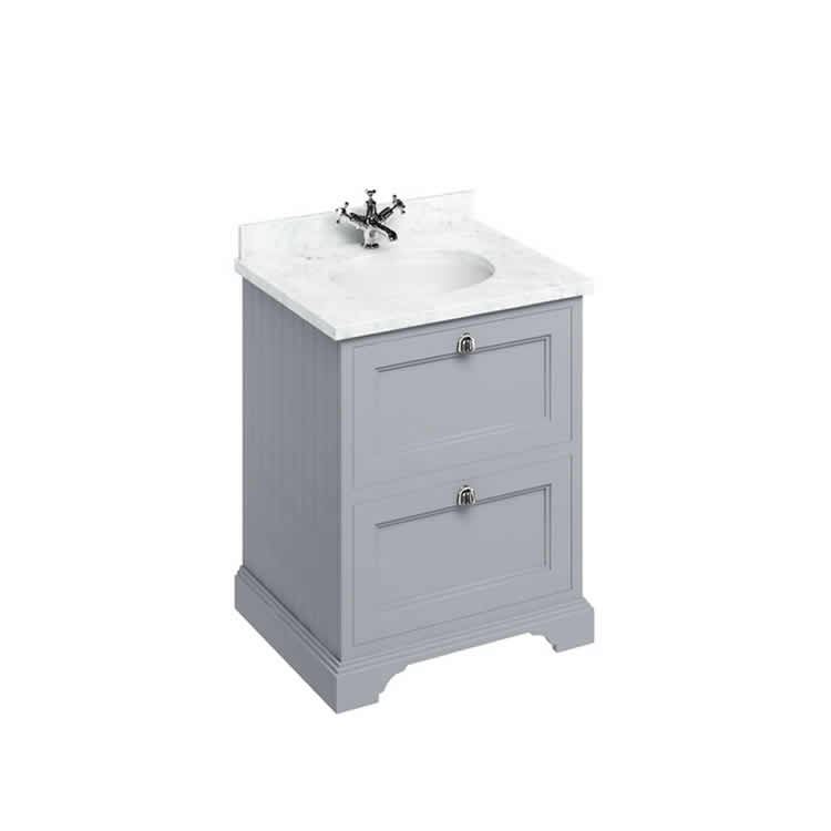 Photo of Burlington Classic Grey 670mm Freestanding Vanity Unit with Drawers and Minerva Basin