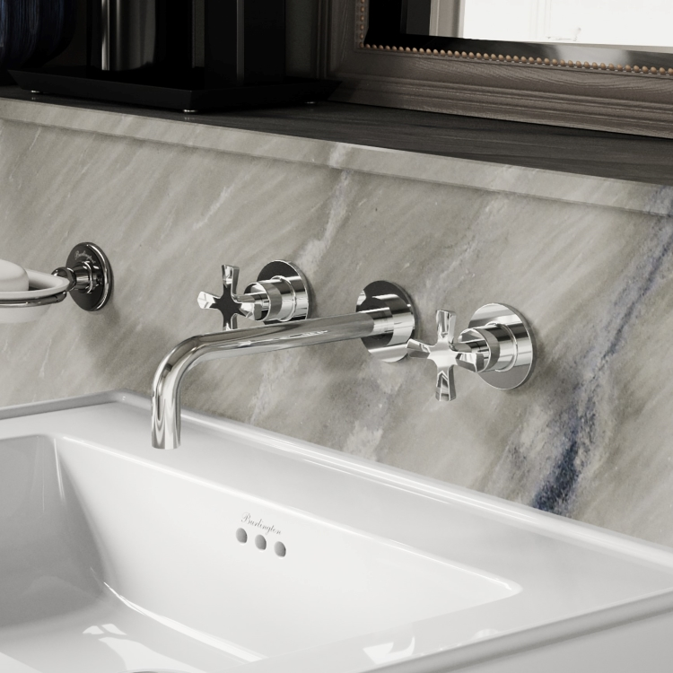 Image of Burlington Riviera 3 Tap Hole Wall Mounted Basin Mixer Tap in Chrome close up on marble tiled wall with white basin