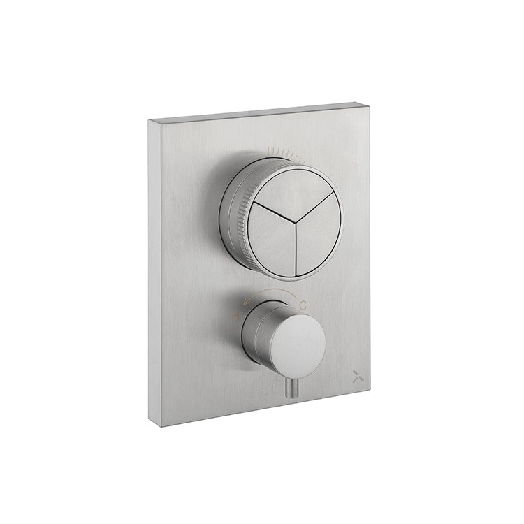 Photo of Crosswater MPRO Brushed Stainless Steel Triple Outlet Crossbox Push Shower Valve Cutout