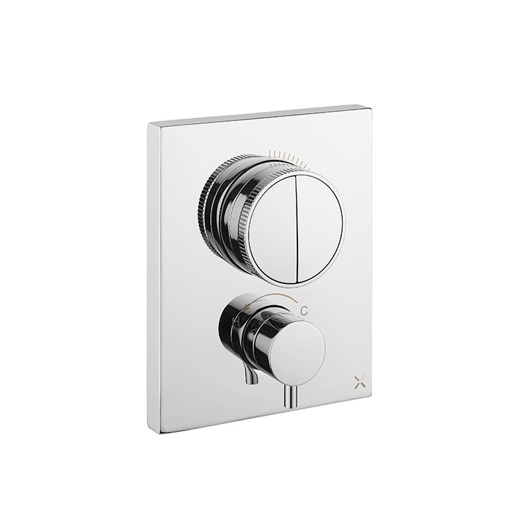 Photo of Crosswater MPRO Chrome Twin Outlet Crossbox Push Shower Valve Cutout