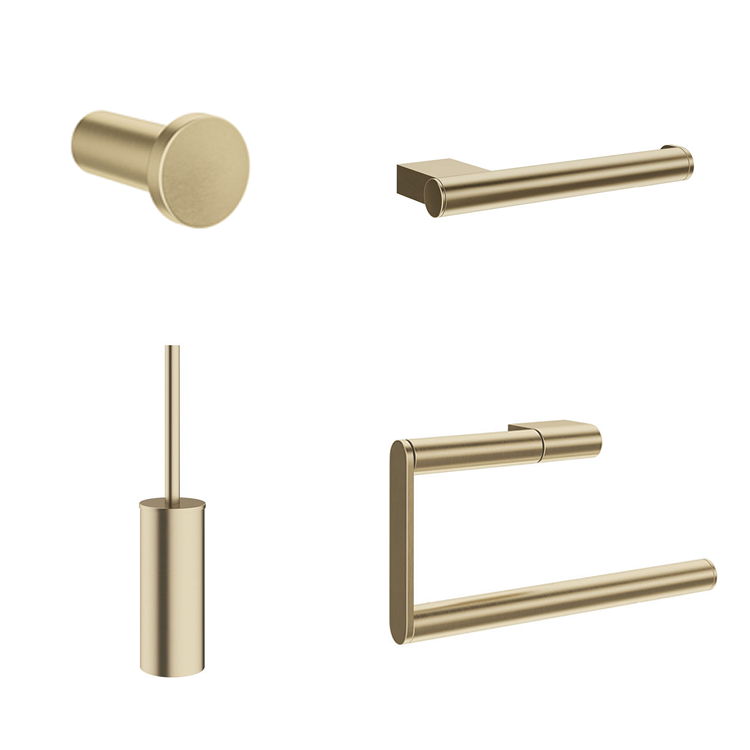 Photo of Crosswater MPRO Brushed Brass 4 Piece Bathroom Accessory Pack Cutout