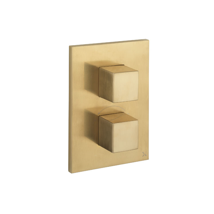 Photo of Crosswater Verge Brushed Brass Crossbox & 2 Outlet Trim Set Cutout