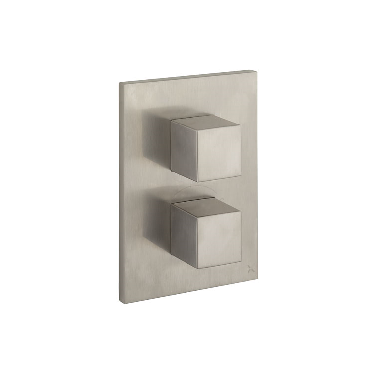 Photo of Crosswater Verge Brushed Stainless Steel Crossbox & 3 Outlet Trim Set Cutout - Trim Set Cutout