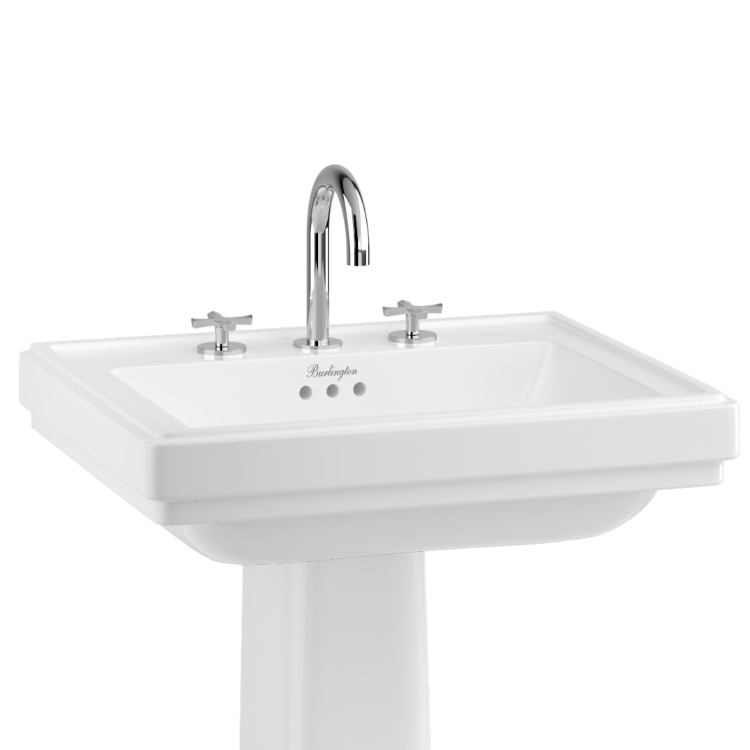 Close-up image of 3TH 580mm Riviera Square Basin with Full Pedestal