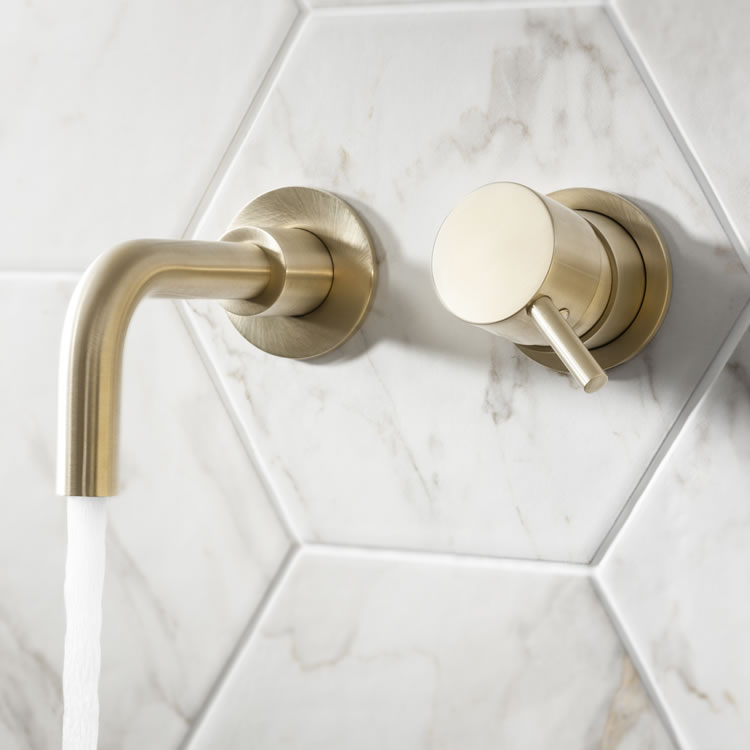 Photo of Crosswater MPRO Brushed Brass Wall Mounted Basin 2 Hole Set with 140mm Spout