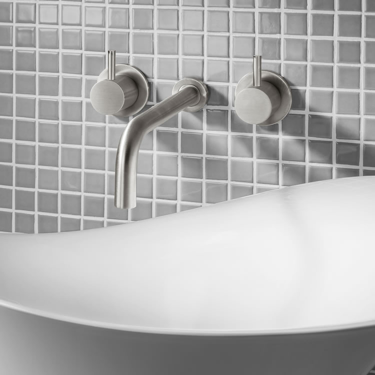 Photo of Crosswater MPROBrushed Stainless Steel Basin 3 Hole Set - Wall Mounted