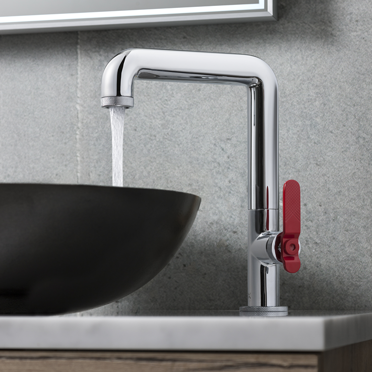 Photo of CrosswaterUnion Chrome Tall Basin Mixer with Red Lever Lifestyle Image