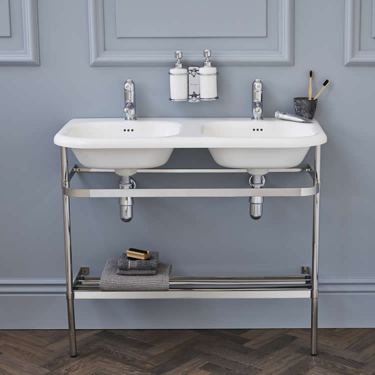 Burlington 1000mm Natural Stone Double Roll Top Basin & Washstand - Image 1