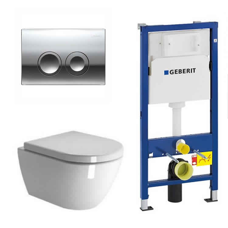 Zero Wall Hung Toilet & Seat With Geberit 1120mm Cistern Frame & Sigma01 Flush Plate