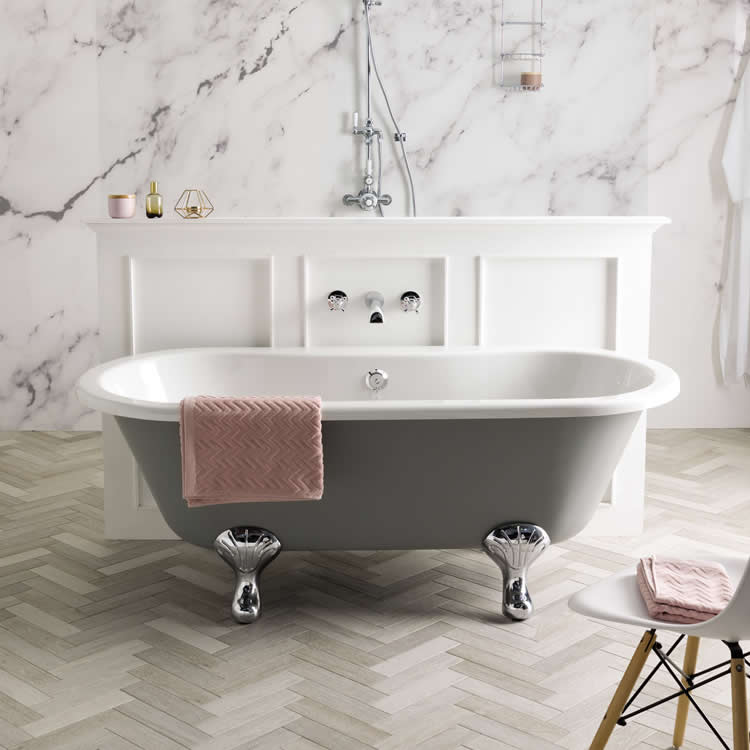 BC Designs Elmstead 1700mm Double Ended Roll Top Freestanding Bath