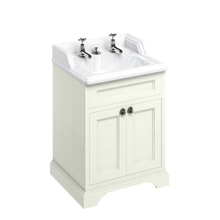 Burlington Freestanding 650mm Sand Vanity Unit with Classic Invisible Overflow Basin Image