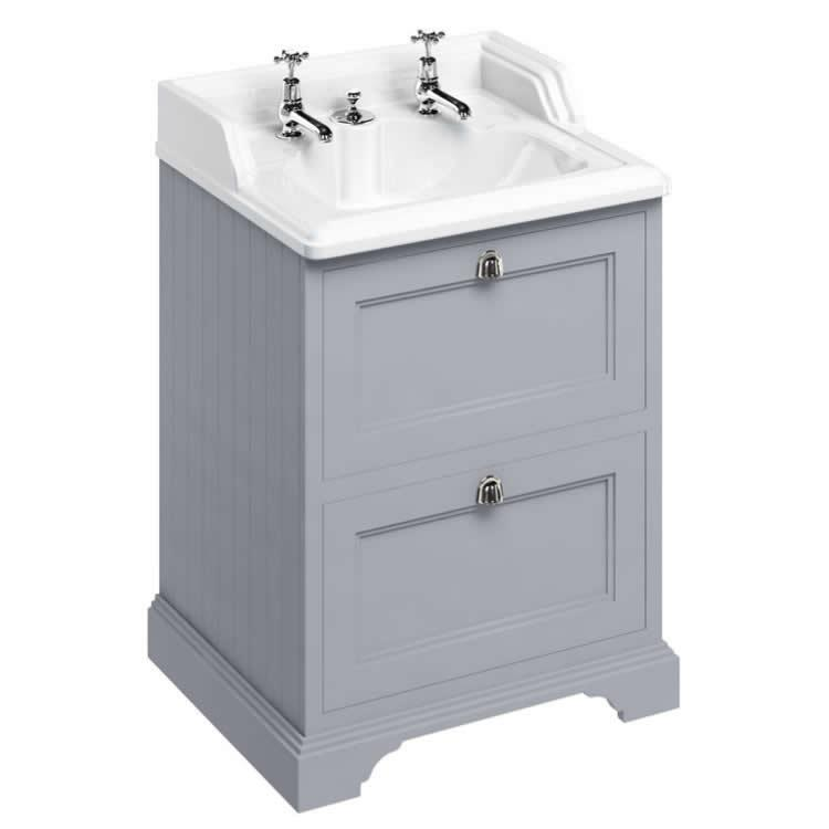 Photo of Burlington Classic Grey 650mm Vanity Unit With Drawers & Invisible Overflow Basin