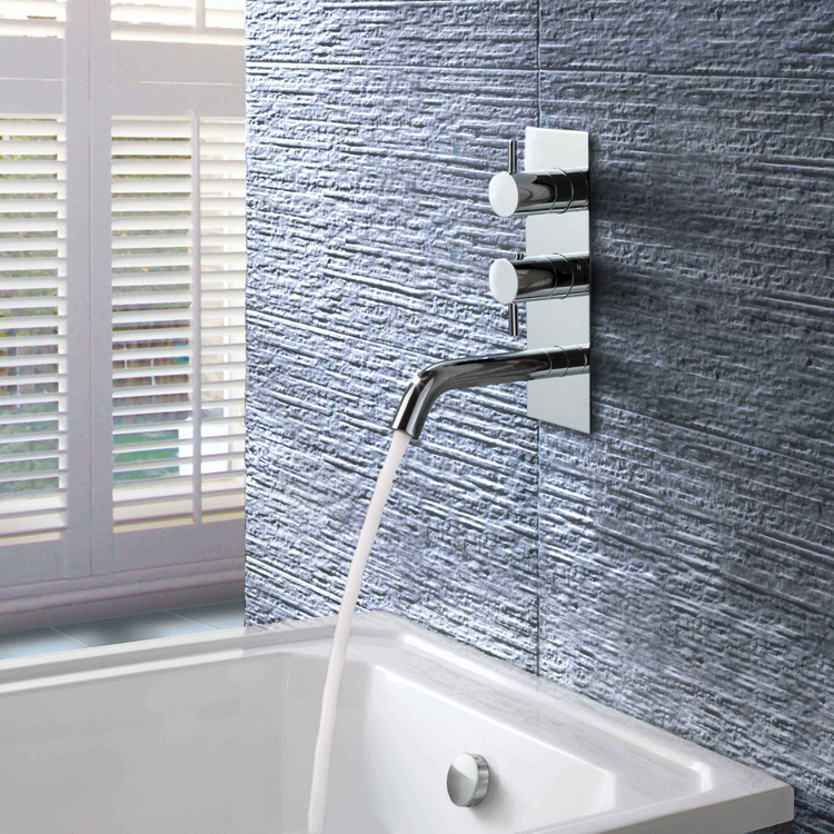 Photo of JTP Florence Chrome Twin Outlet Thermostatic Shower Valve with Bath Spout Lifestyle