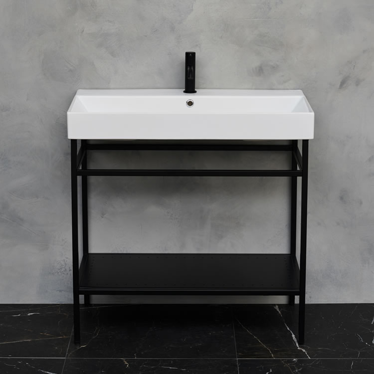 Photo of Shoreditch Frame Furniture Stand in Matt Black with marble-effect wall
