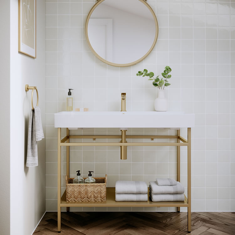 Photo of the Shoreditch Frame Furniture Stand in Brushed Brass with brushed brass accessories and light green tiles.