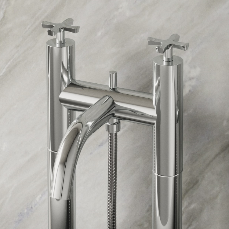 Image of Burlington Riviera Floorstanding Bath Shower Mixer with Handset & Hose in chrome close up image with marbled background