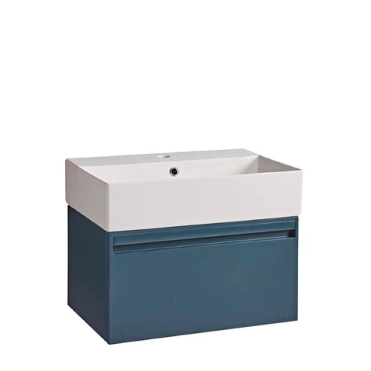 Image of close up product cut out of Tavistock Bathrooms Forum 600 Oxford Blue wall mounted vanity unit with basin